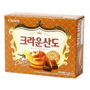 8801111919494/CROWN  Chocolate & Vanilla Sando Biscuits 161g香草巧克力夾心餅