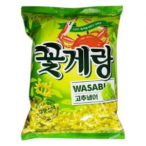 8801111924634/BINGGRAE Crab Chips Wssabi Flavor 70g 螃蟹芥末味薯片