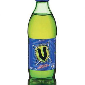 V Energy Drink Bottle Blue 350ml