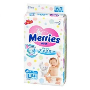KAO MERRIES NAPPIES  PANTS FOR  9-14KG BABY UNISEX SIZE L 54P 日本花王婴儿尿不湿54片