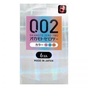 日本OKAMOTO冈本 002避孕套 炫彩三色 6个装/OKAMOTO 0.02 EX Polyurethane Condoms 3 Color Mix 6pcs