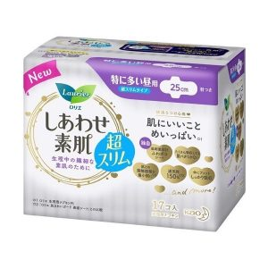 日本KAO花王LAURIER F系列棉柔日用护翼卫生巾25cm17片/KAO LAURIER F Ultra Thin Sanitary Napkins with Wings Day Use 25cm 17pads