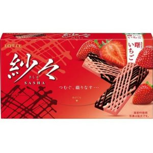 日本Lotte乐天纱网草莓双重巧克力69g/Lotte Sasha Strawberry Chocolate 69g