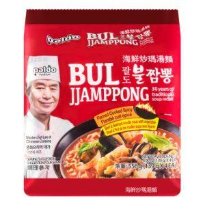 韩国Paldo极火炒码海鲜汤面4包装556g/Paldo Instant Noodles With Flamed Spicy Seafood Soup 4pk 556g