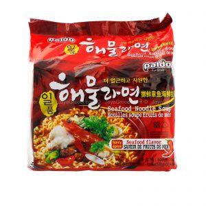 韩国Paldo御膳章鱼海鲜风味拉面5包装600g/Paldo Spicy Seafood Noodle Soup 5pk 600g