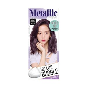 韩国MISE EN SCENE爱茉莉HELLO BUBBLE泡沫染发剂亮灰色单组入/Miseenscene Hello Bubble Hair Dyeing Coloring Color Metallic Ash
