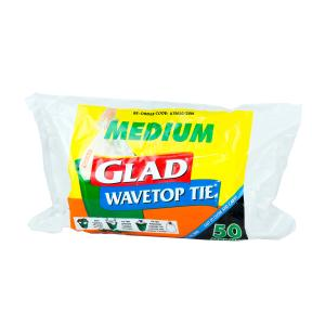 Glad可系垃圾袋白色中号50个/Glad Wave Top Tie White Medium 50pk