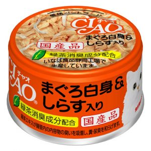 日本CIAO伊纳宝鮪魚+小魚猫粮罐头85g/CIAO White Meat Tuna With Shirasu In Jelly 85g