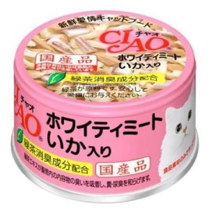 日本CIAO伊纳宝白吞拿鱼章鱼猫粮罐头85g/CIAO White Meat Tuna With Cuttlefish In Jelly 85g