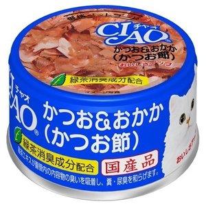 日本CIAO伊纳宝白吞拿鱼果冻口味猫粮罐头85g/CIAO White Meat Tuna With Dried Bonito In Jelly 85g
